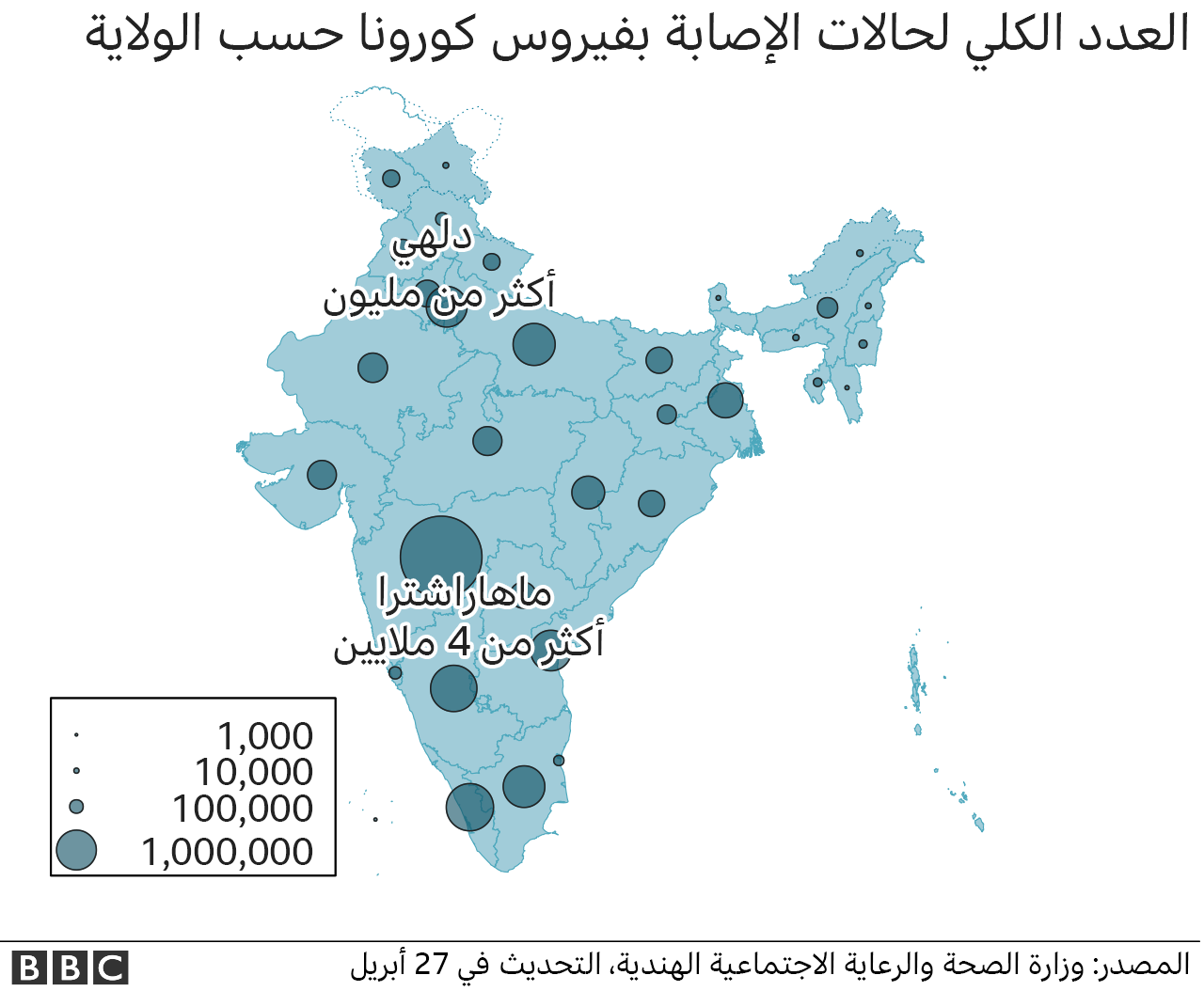 خريطة لأرقام الحالات في الهند تظهر الولايات الانتخابية