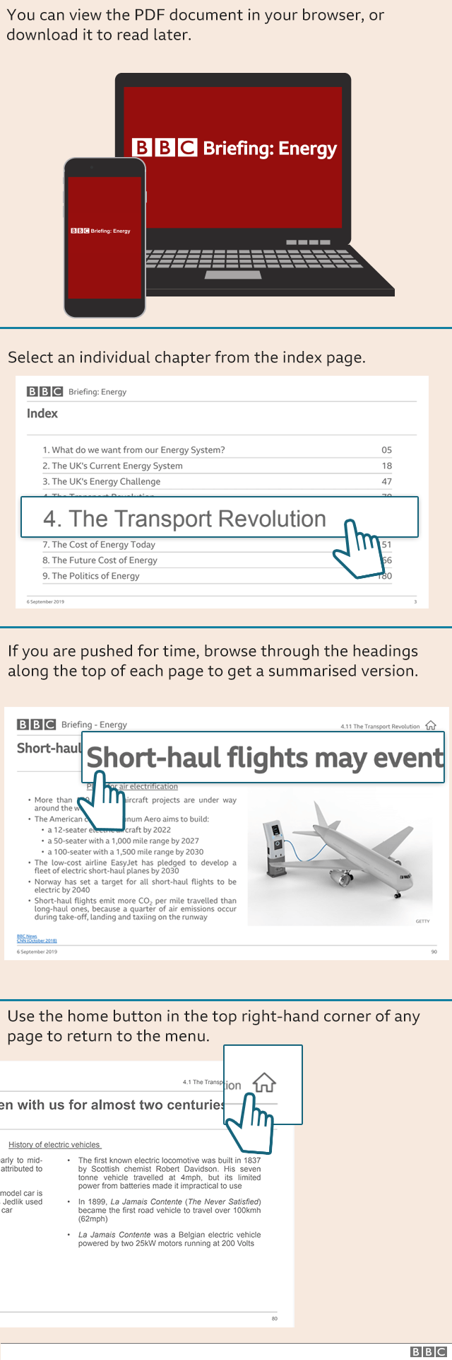 Instructions on how to navigate the BBC Briefing PDF document