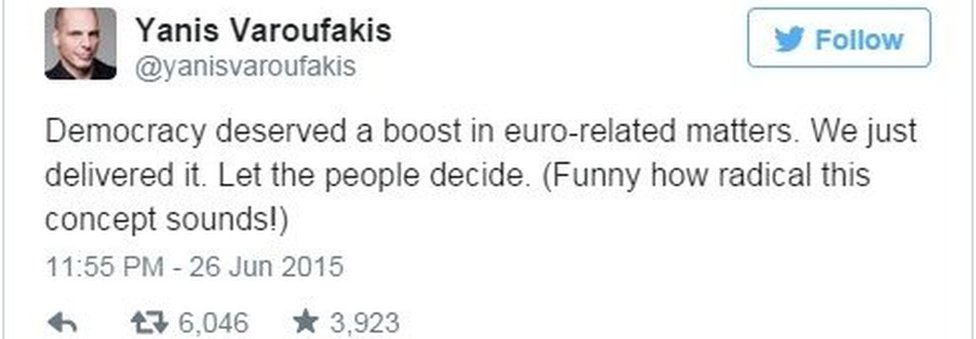Tweet from Varoufakis