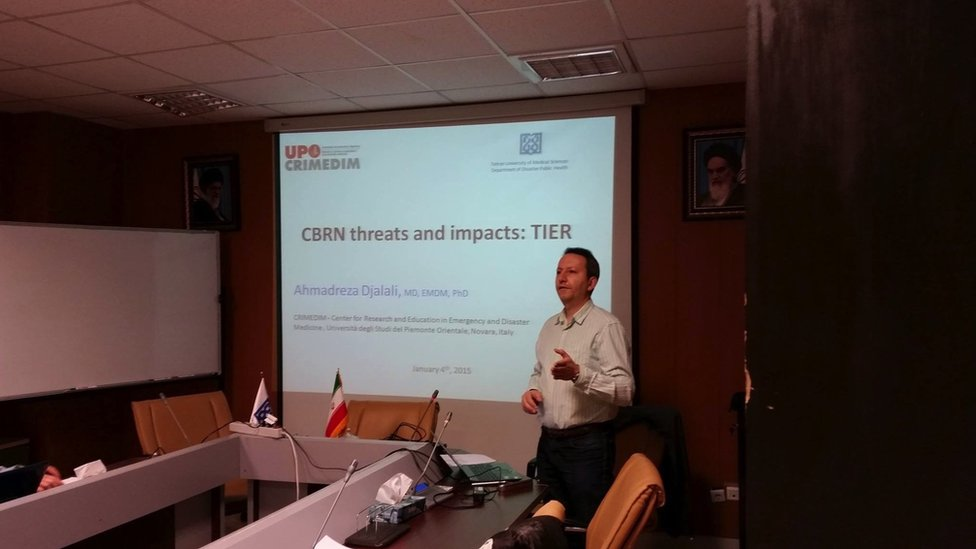 Mr Djalali speaking during a presentation on CBRN (chemical, biological, radiological and nuclear) threats