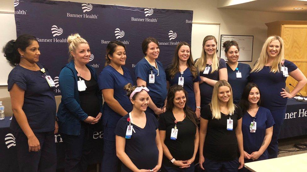 Varias de las enfermeras embarazadas.