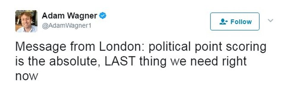 Message from London: political point scoring is the absolute, LAST thing we need right now