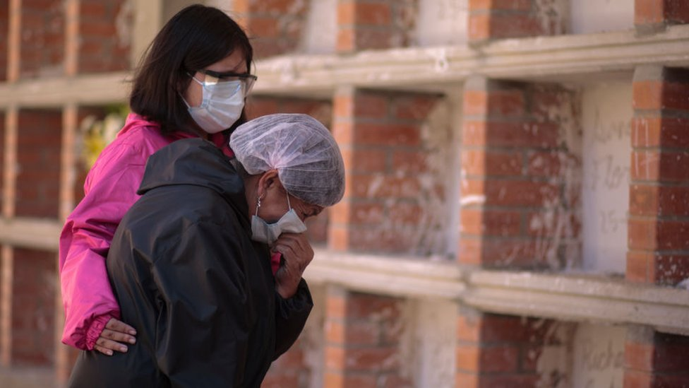Two women wearing face masks mourn at a cemetery in La Paz, Bolivia