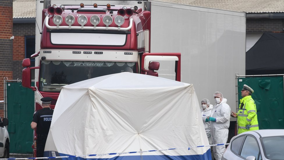 Police activity at the Waterglade Industrial Park in Grays, Essex, after 39 bodies were found inside a lorry on the industrial estate.