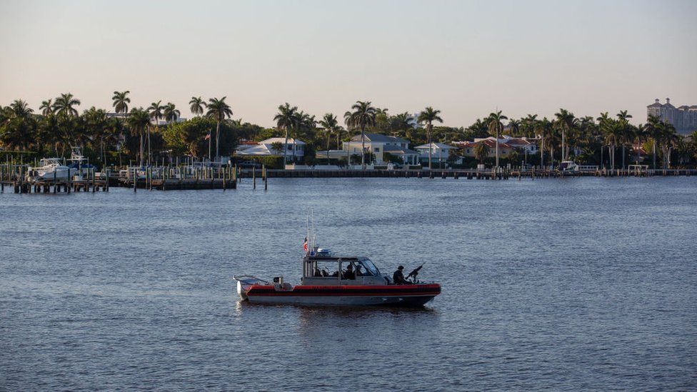 A coast guard patrol in West Palm Beach, Florida