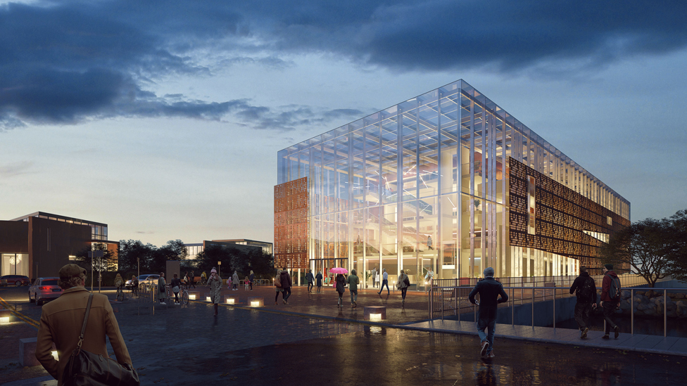 Artist impression of museum in Cardiff Bay