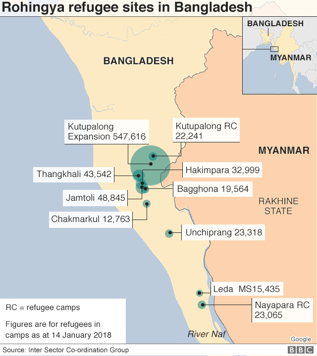 Map showing Rohingya refugee settlements in Bangladesh as at January 2018