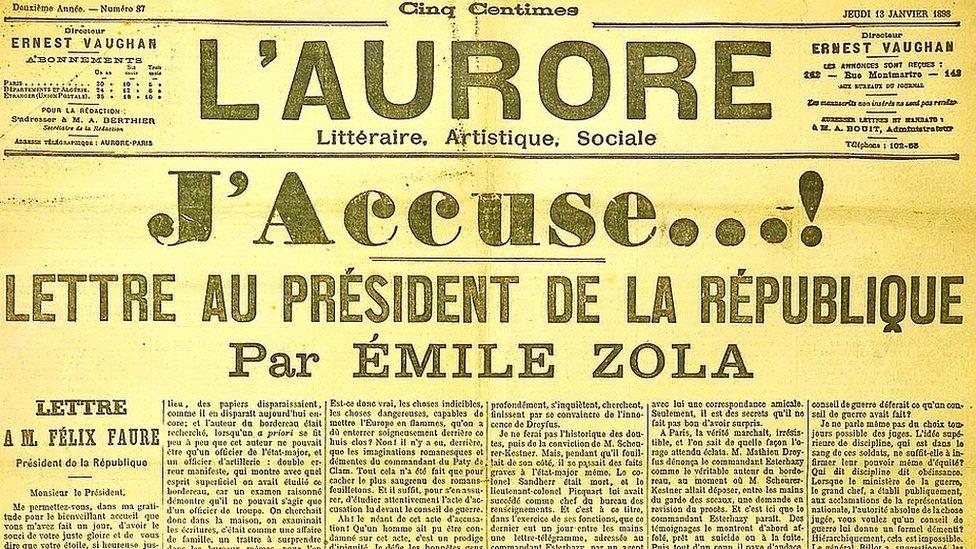 Página del diario con la carta J'Accuse