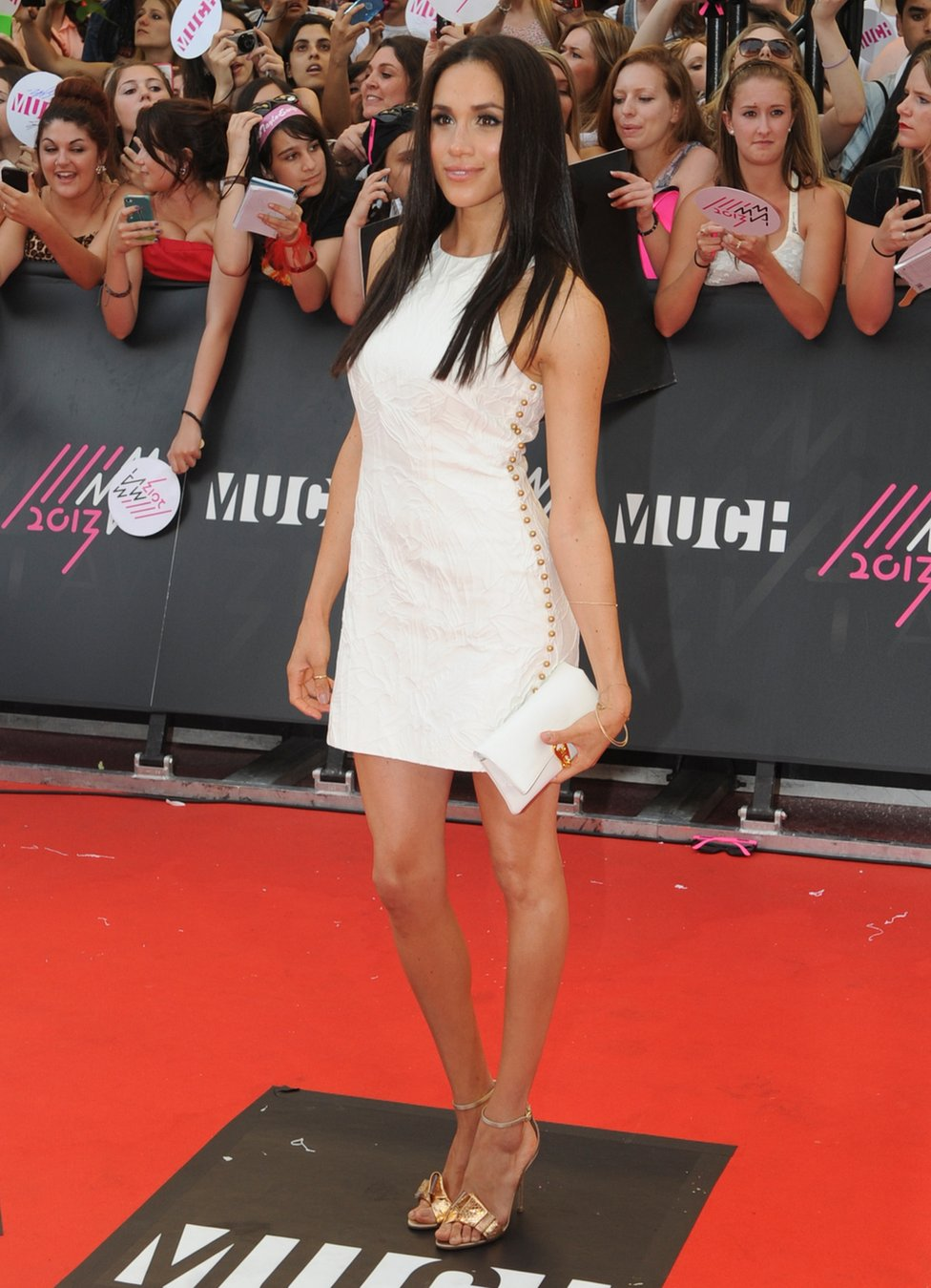 Megan Markle arrives on the red carpet at the 2013 MuchMusic Video Awards in Toronto