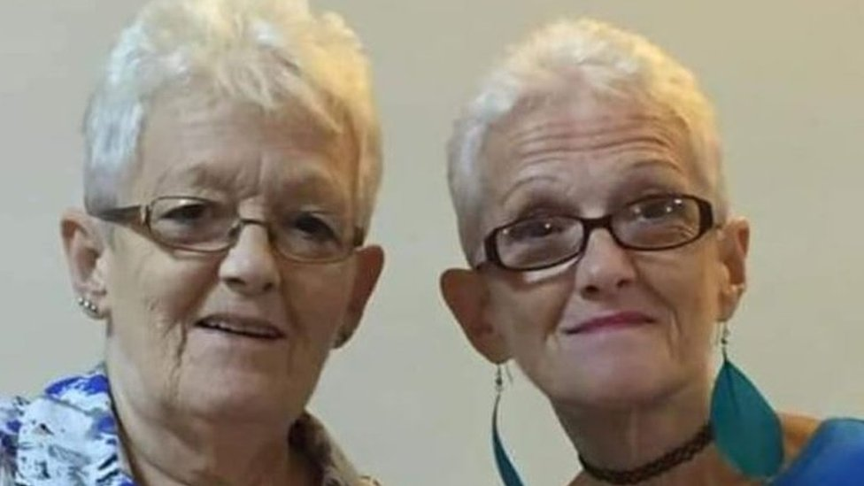 Margaret Pegler is on the right, her twin Elizabeth is on the left.