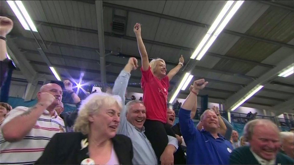 Leave voters in Sunderland during the EU referendum count