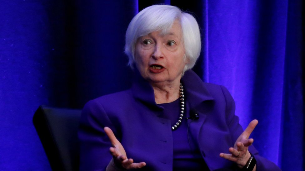 Former Federal Reserve chair Janet Yellen speaks during a panel discussion in Atlanta, Georgia, on 4 January, 2019.
