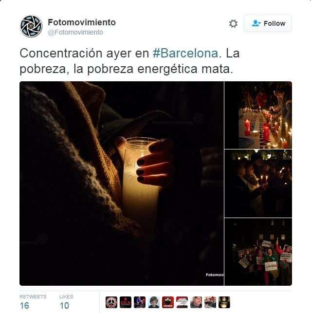 """Demonstration yesterday in #Barcelona. Poverty, energy poverty kills,"" tweets @Fotomovimiento, with pictures of a candlelit protest"