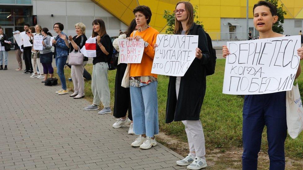 Huelgas en la planta de vehículos de MZKT en Minsk, el 20 de agosto.