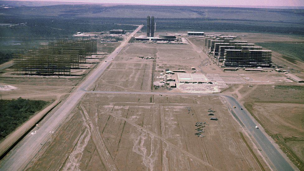 Aerial view of construction works in Brasilia in 1959