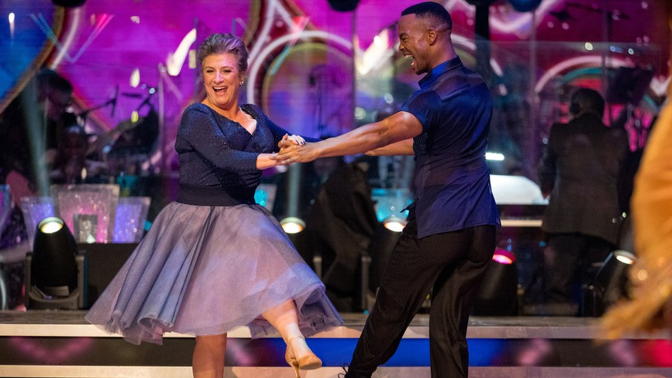 Caroline Quentin with Johannes Radebe