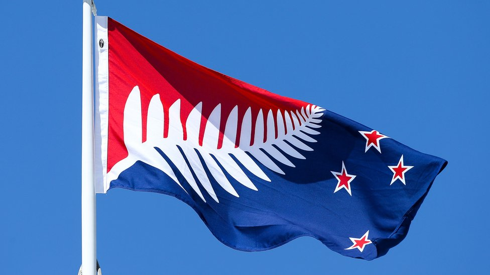 Silver Fern (Red, White and Blue), by Kyle Lockwood, flies on top of the Wellington Town Hall on 12 October 2015 in Wellington, New Zealand