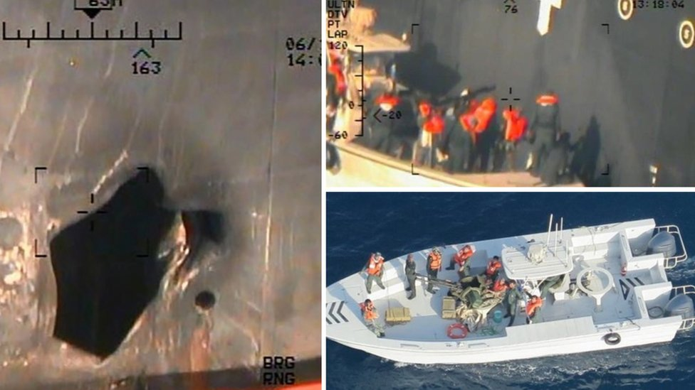 Images apparently showing damage to vessel, and what US says is Iranian Revolutionary Guards