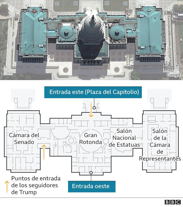 Mapa que muestra cómo es por dentro el edificio del Congreso.