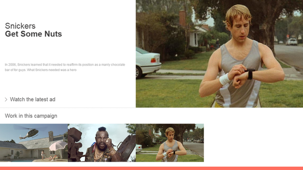 Screenshot of the controversial 'Get Some Nuts' video by AMV BBDO from their website