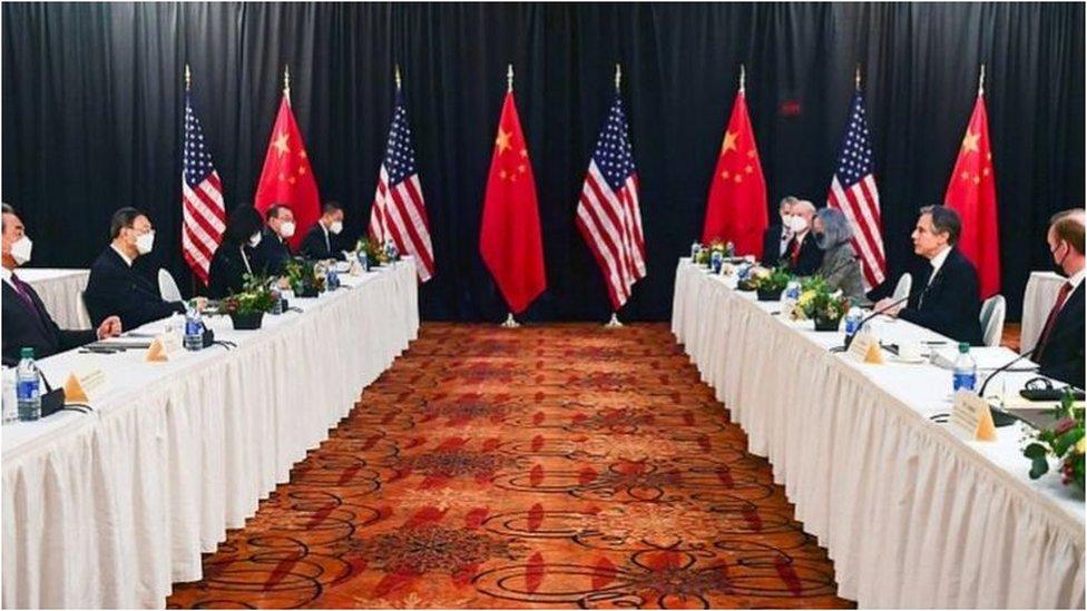 中美2021年3月在阿拉斯加的高層對話,是美國拜登政府上台以來的首次。