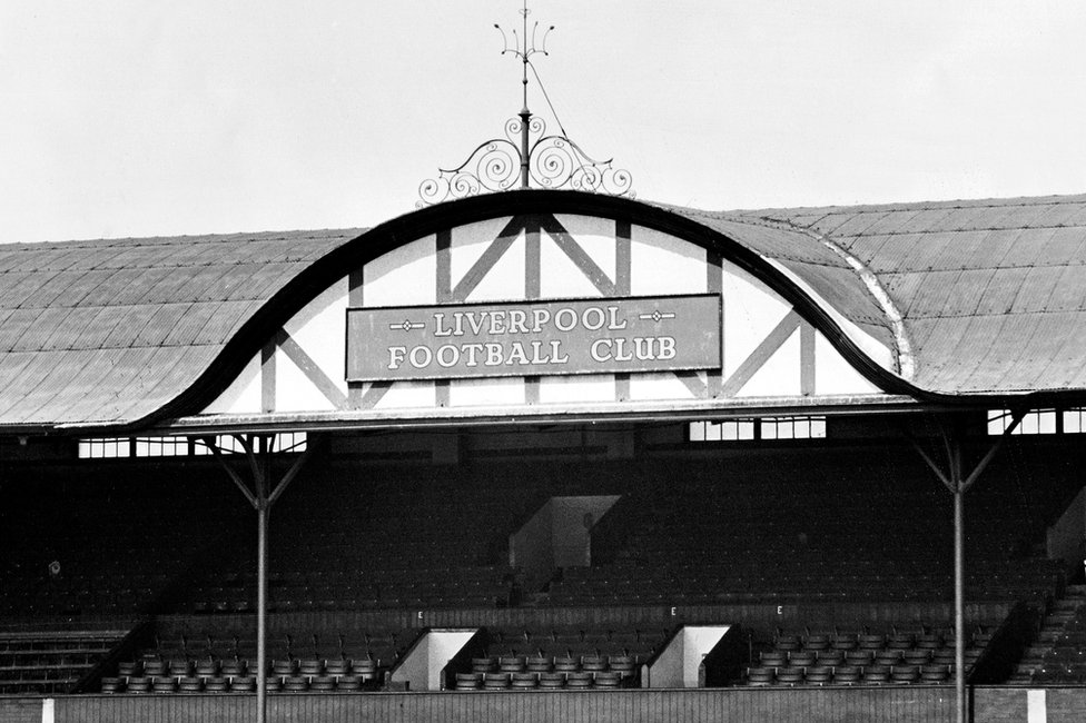The decorative gable at the centre of the main stand roof at Liverpool's Anfield stadium, designed by Archibald Leitch
