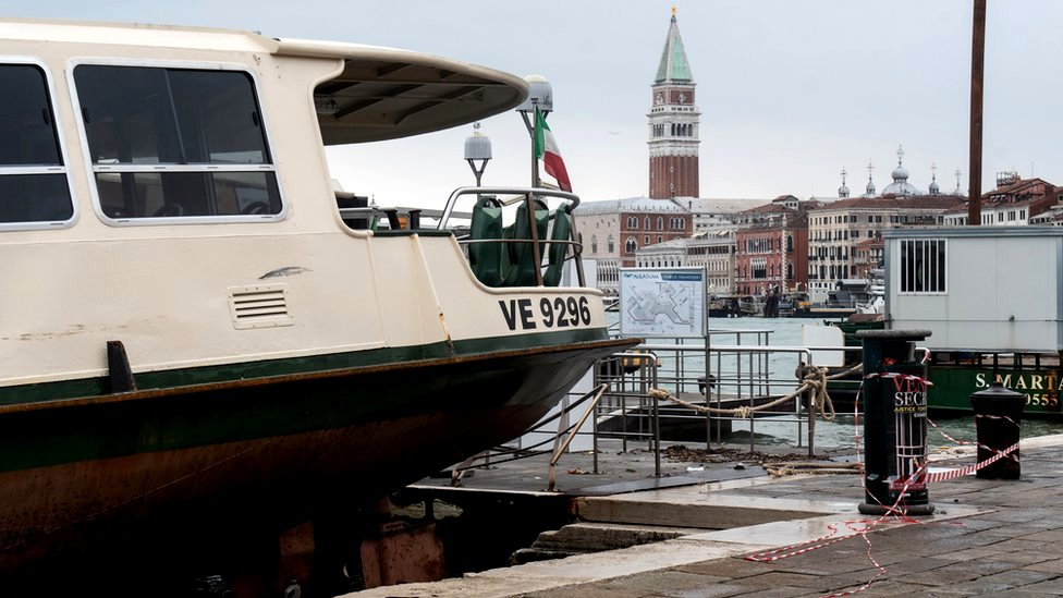 The strong winds in Venice brought a vaporetto - public water bus - up Venice's Arsenale complex, 13 November 2019