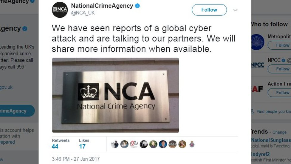 """NCA tweet reads: """"We have seen reports of a global cyber attack and are talking to our partners. We will share more information when available""""."""