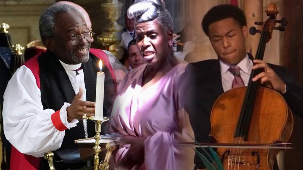 El obispo Michael Curry, la directora del coro de góspel Karen Gibson y el violoncelista Sheku Kanneh-Mason
