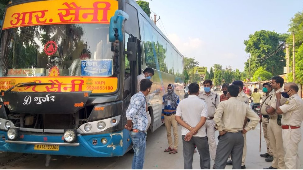 One of the buses from which six boys were rescued from being trafficked in Bihar
