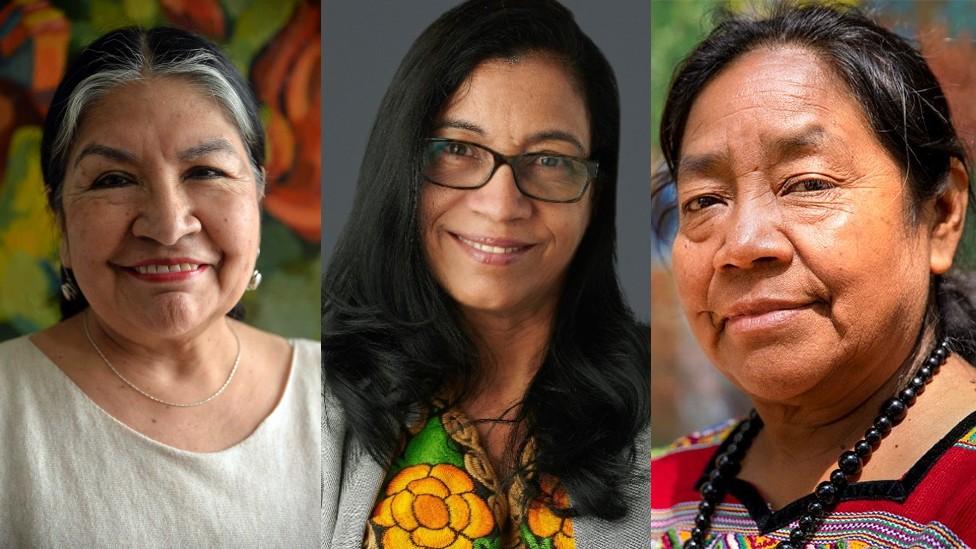 Las líderes Tarcila Rivera Zea, de Perú, Lottie Cunningham Wren, de Nicaragua, y Rosalina Tuyuc, de Guatemala (Foto: ONU Mujeres/Ryan Brown)