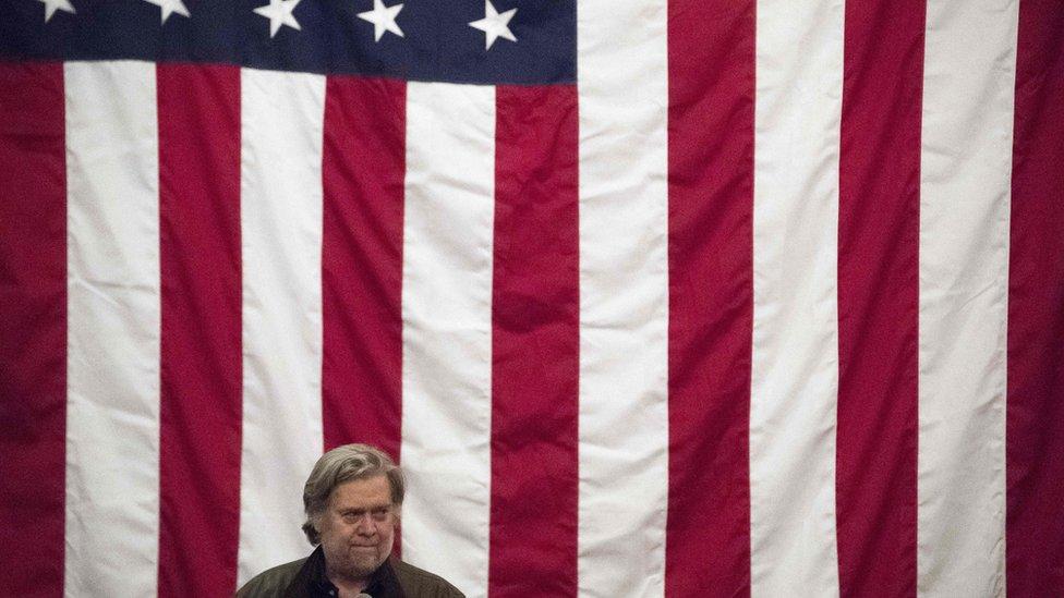Former White House strategist Stephen Bannon at Roy Moore rally - 11 December 2017