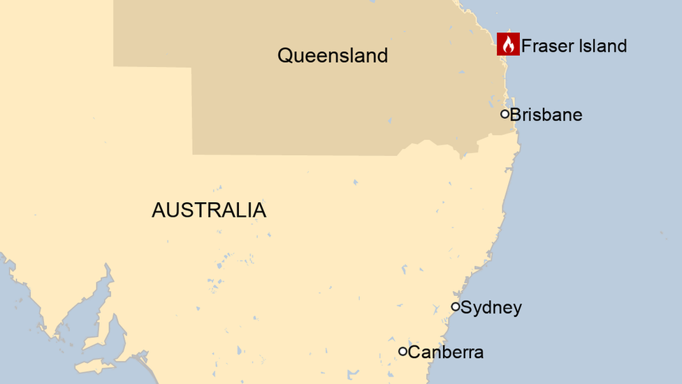 A map showing where Fraser Island is off Australia