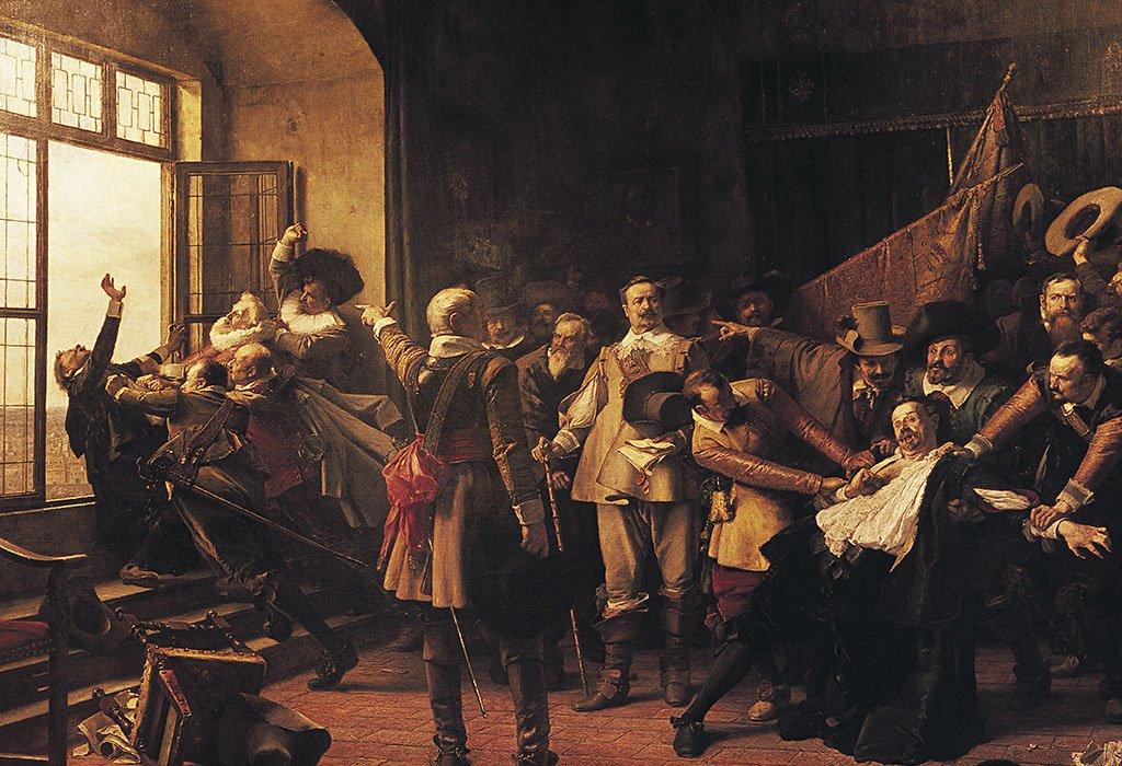 Pintura mostrando a hombres agarrando a los católicos y llevándolos hacia la ventana