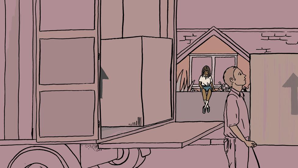 Meredith en la casa, ilustración