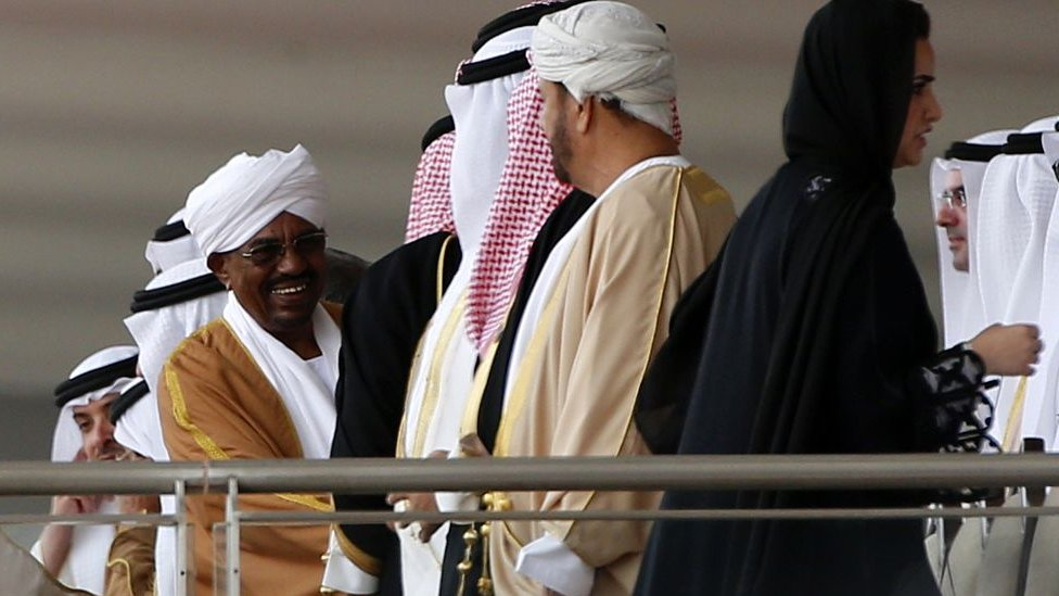 Sudan's President Omar al-Bashir arrives for the opening of the International Defence Exhibition and Conference (IDEX) at the Abu Dhabi National Exhibition Centre in the Emirati capital on 22 February 2015.