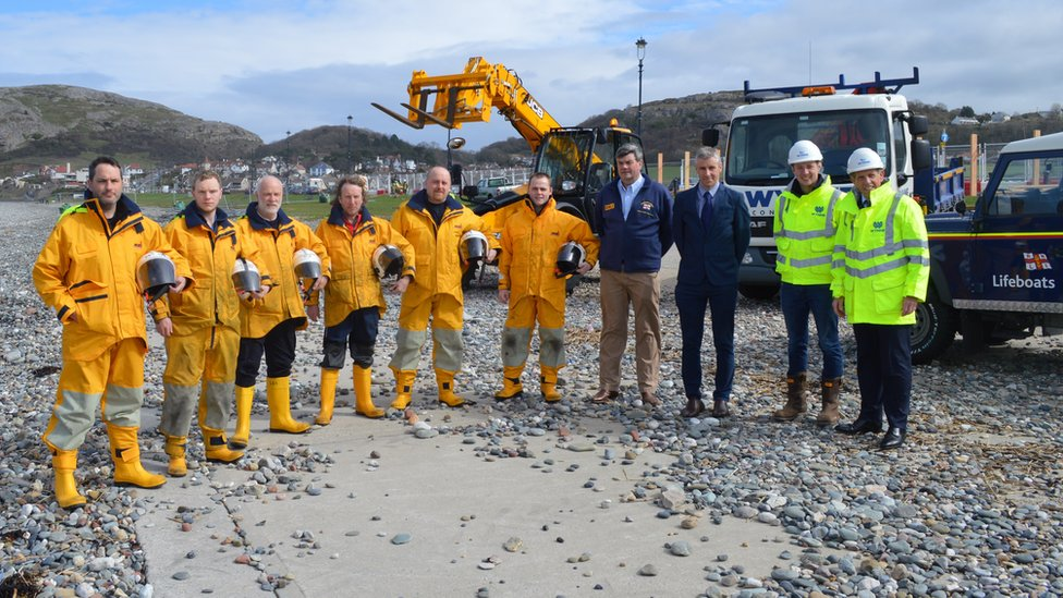 Llandudno RNLI crew and builders from Wynne Construction on the site of the new lifeboat station