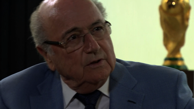 Sepp Blatter speaking to the BBC's Richard Conway.