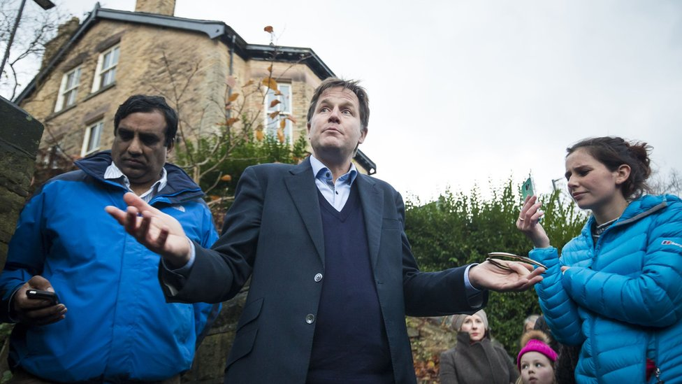 Nick Clegg talks to residents