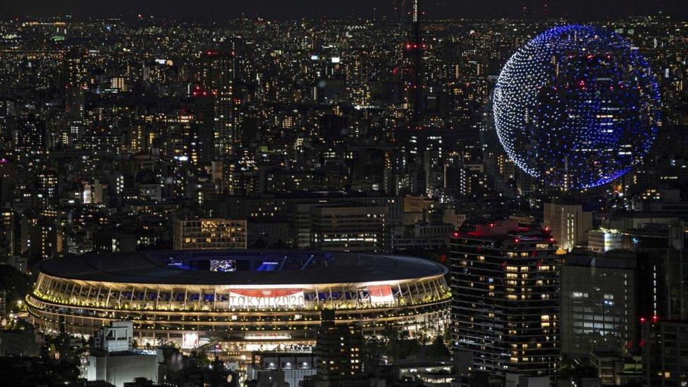 El espectáculo de drones en Tokio