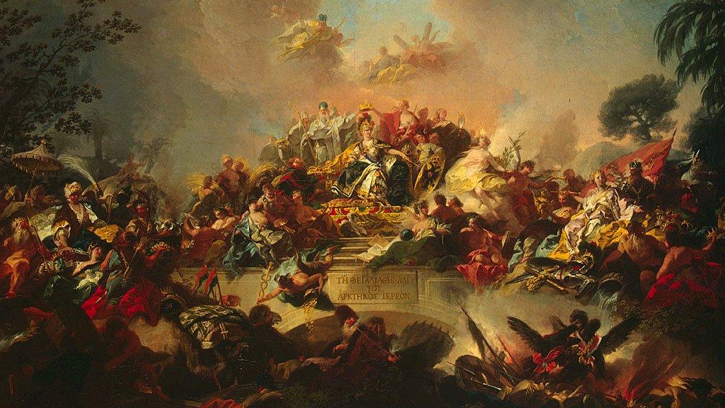 """Este cuadro titulado """"Apoteosis del reinado de Catalina II"""", de 1767, pintado por Gregorio Guglielmi, fue encontrado en la Colección del Museo Hermitage, San Petersburgo."""