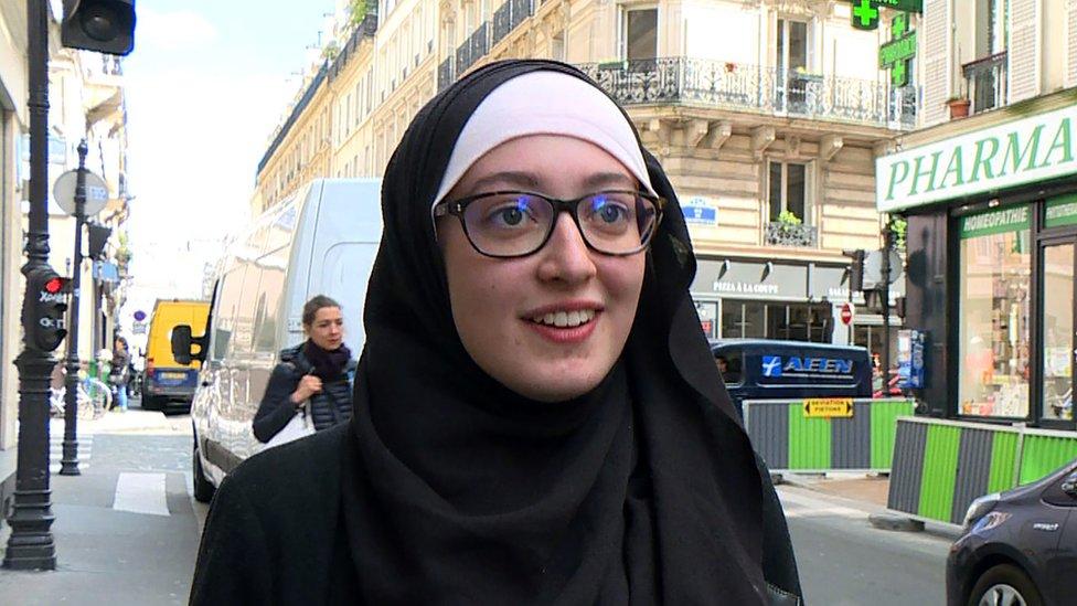 Student Union President at Paris-Sorbonne University Maryam Pougetoux in Paris, 2 May 2018