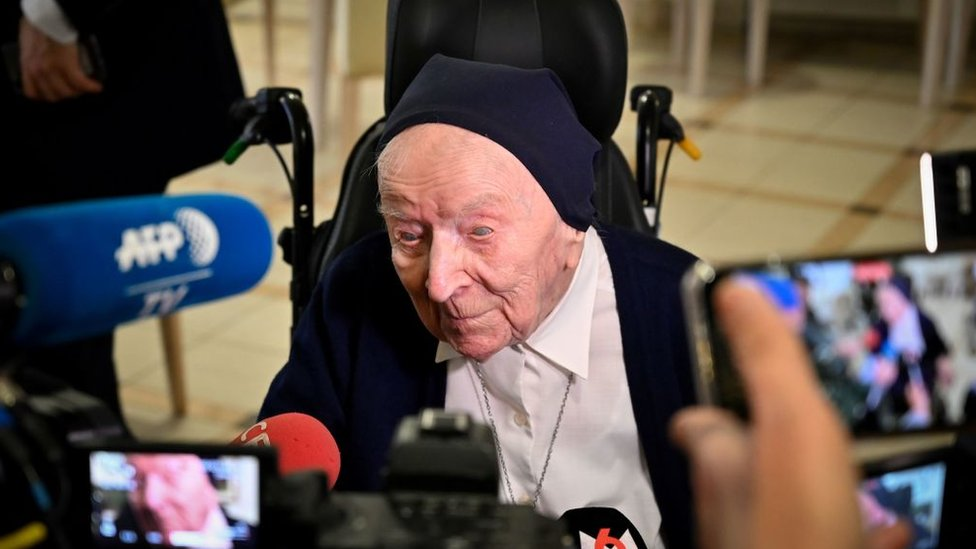 Sister Andre speaking to the French media last year