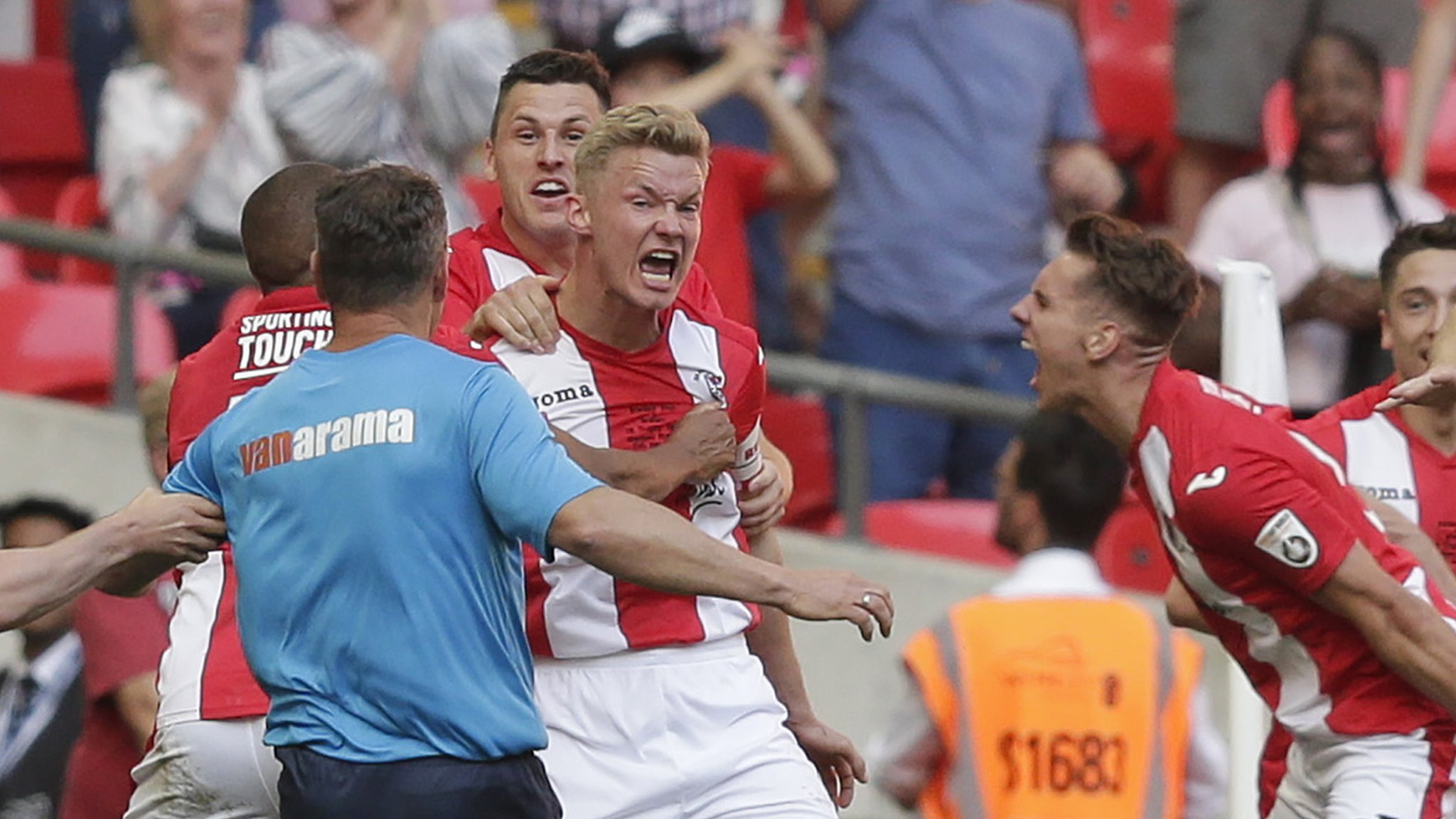 FA Trophy final: Brackley Town beat Bromley 5-4 on penalties after 1-1 draw