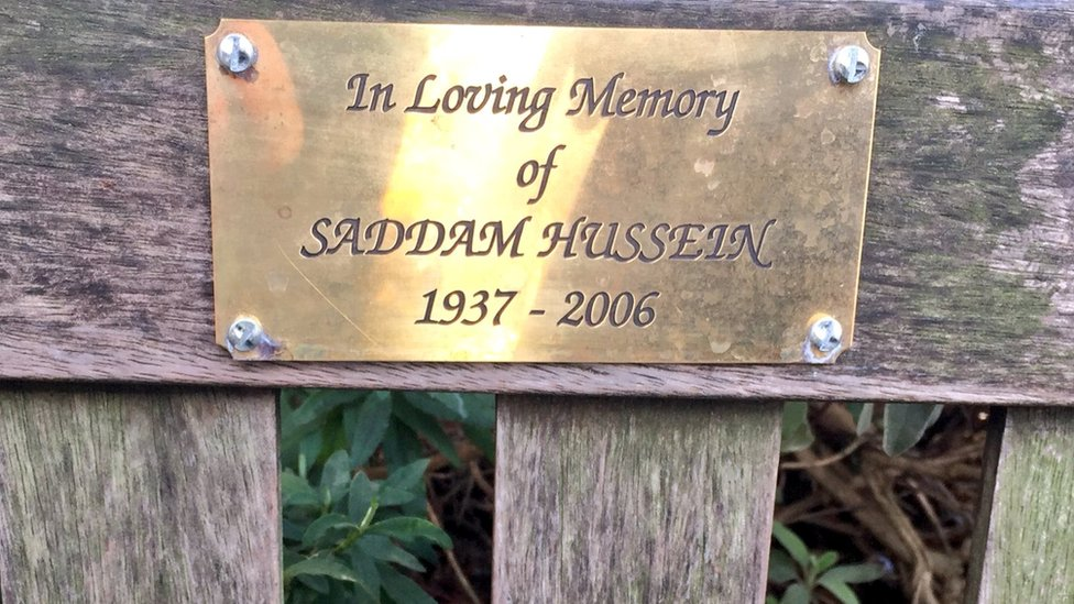 Saddam Hussein memorial plaque appears on London bench