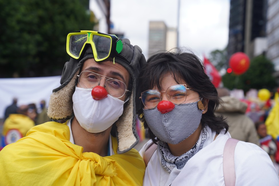 Daniela Sánchez (right) and a friend at a protest in Bogotá on 12 May 2021