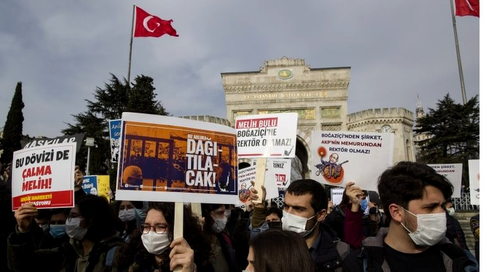 A protest earlier this month at Bogazici University