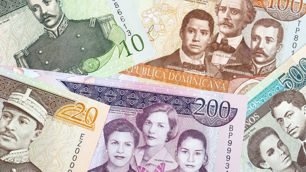 Billetes dominicanos.