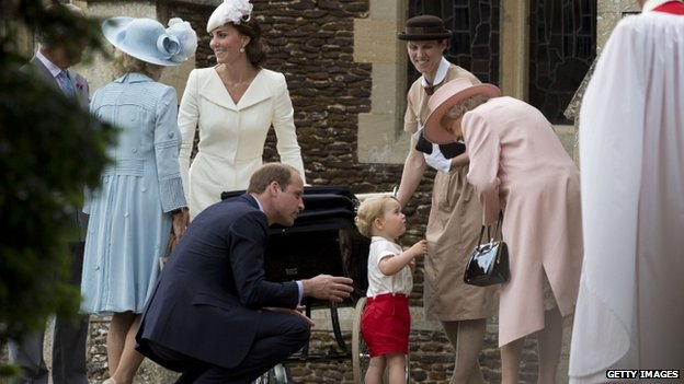 The Queen speaks to Prince George ahead of Princess Charlotte's christening