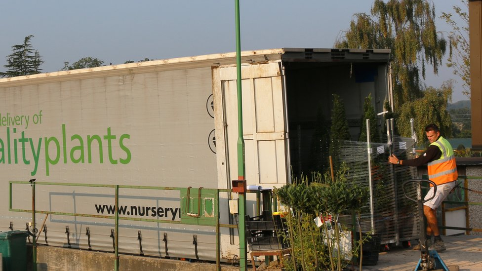 Lorry delivering plants